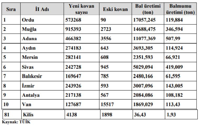 Türkiye Bal Üretim Miktarları - Arıcılık